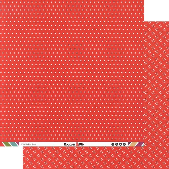 Papier scrapbooking 30,5 x 30,5 cm Rouge / Pois & Étoiles