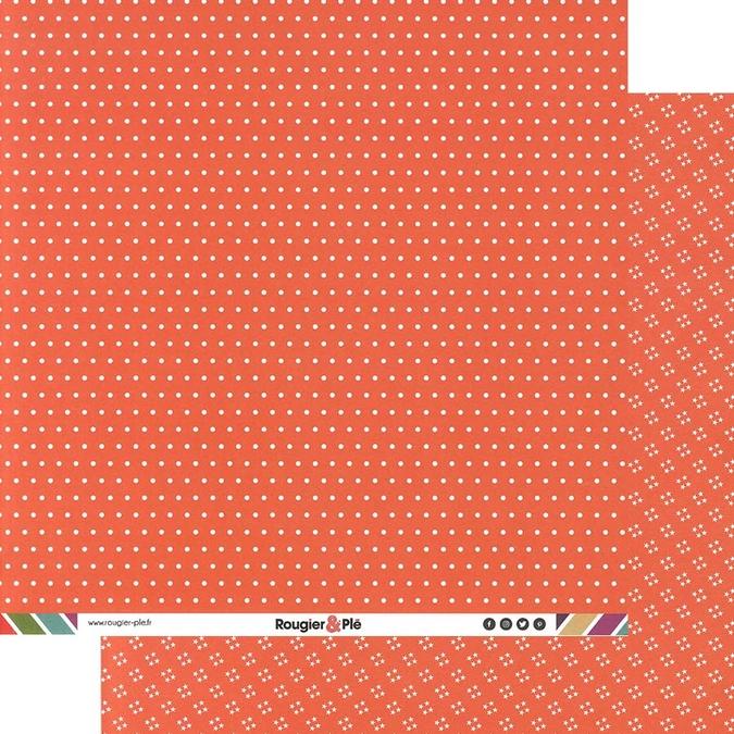 Papier scrapbooking 30,5 x 30,5 cm Corail / Pois & Étoiles