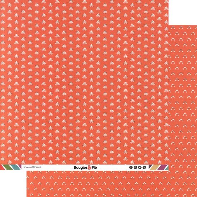 Papier scrapbooking 30,5 x 30,5 cm Corail / Géométrique