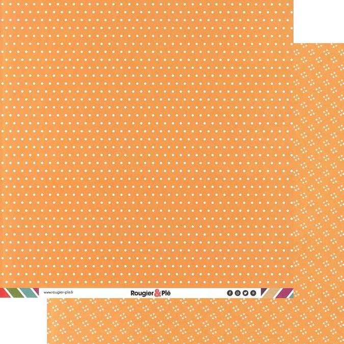 Papier scrapbooking 30,5 x 30,5 cm Orange / Pois & Étoiles