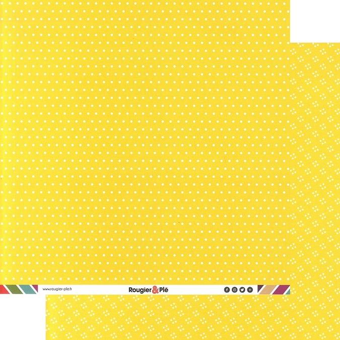 Papier scrapbooking 30,5 x 30,5 cm Citron / Pois & Étoiles