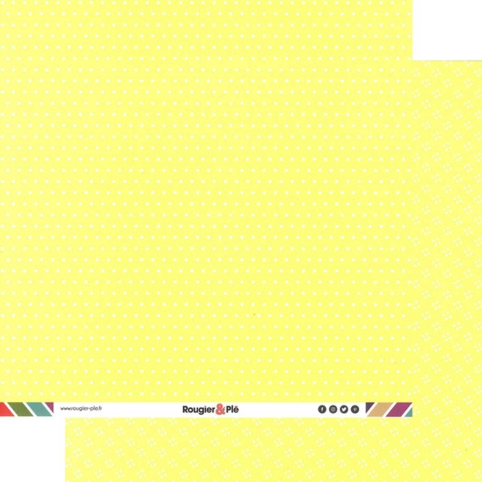 Papier scrapbooking 30,5 x 30,5 cm Paille / Pois & Étoiles