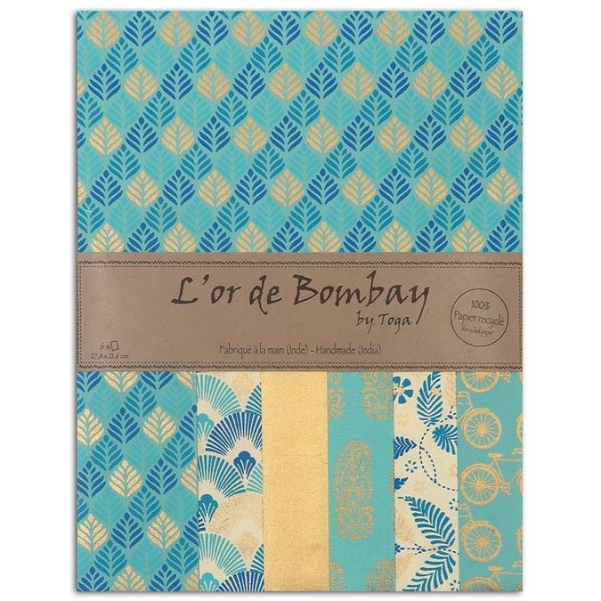 Papier L'or de Bombay Bleu Azur 27,8 x 21,2 cm 6 feuilles