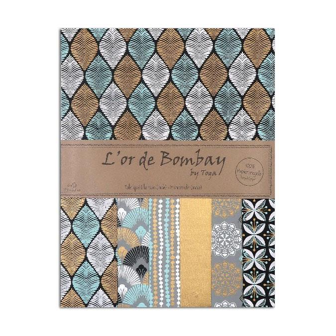 Papier L'or de Bombay Noir Bleu 27,8 x 21,2 cm 6 feuilles