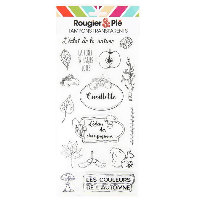 Tampons transparents thème Les couleurs de l'automne 16 pcs