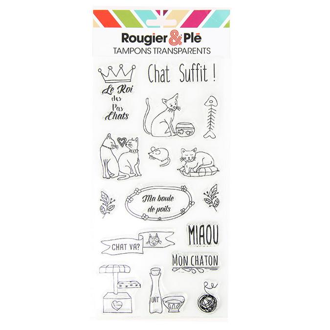 Tampons transparents thème Chat suffit ! 16 pcs