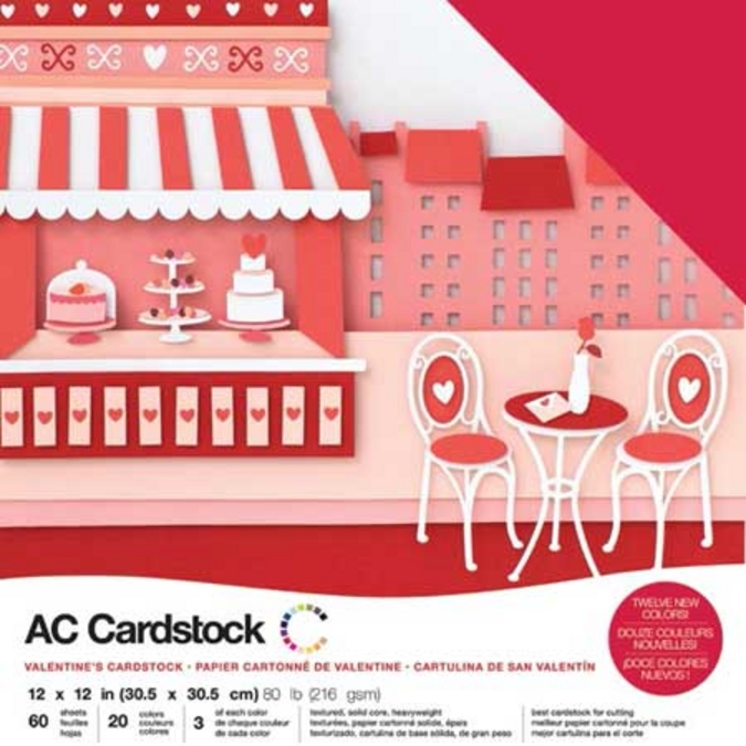 Papier Cardstock pack Saint Valentin 60 feuilles 30,5 x 30,5 cm