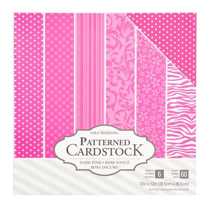 Papier à motifs Core'dinations Rose foncé 60 feuilles 30,5 x 30,5 cm