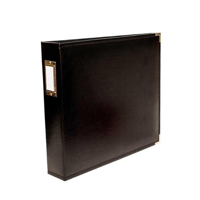 Classeur pour scrapbooking 30 x 30 cm simili cuir Noir