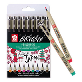 Feutre Pigma Brush pointe pinceau set 9 couleurs