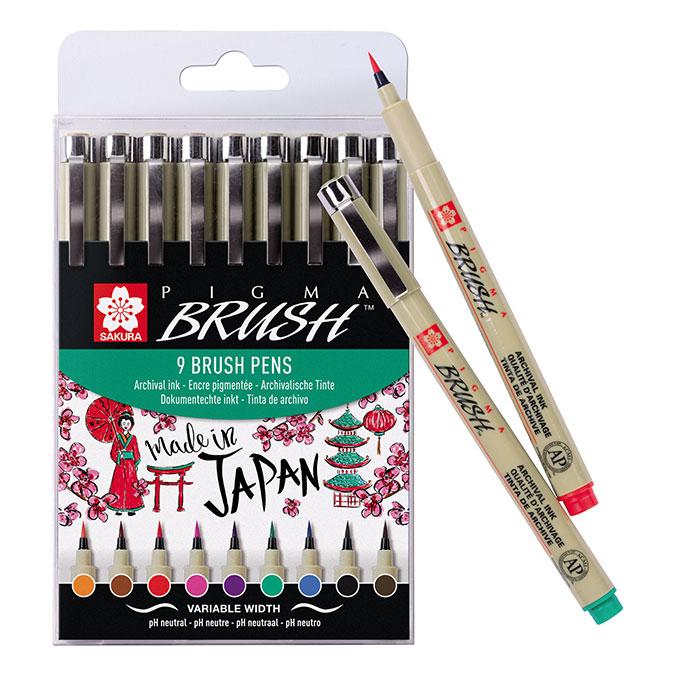 Feutre Pigma Brush pointe pinceau set 9 couleurs