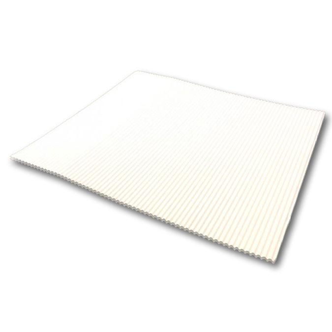 Carton double cannelure apparente Blanc 3 mm 50 x 65 cm