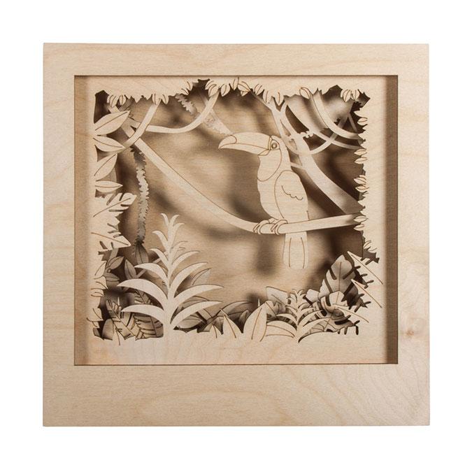 Cadre en bois 3D à monter Kit Toucan 24 x 24 x 6.5 cm