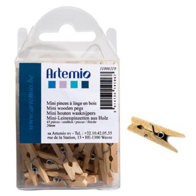 Pince à linge en bois 26 mm 45 pcs
