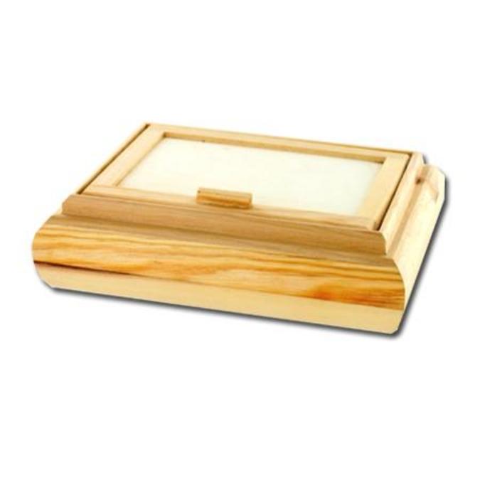 Coffret rectangulaire en bois miroir 21 x 16 x 5 cm