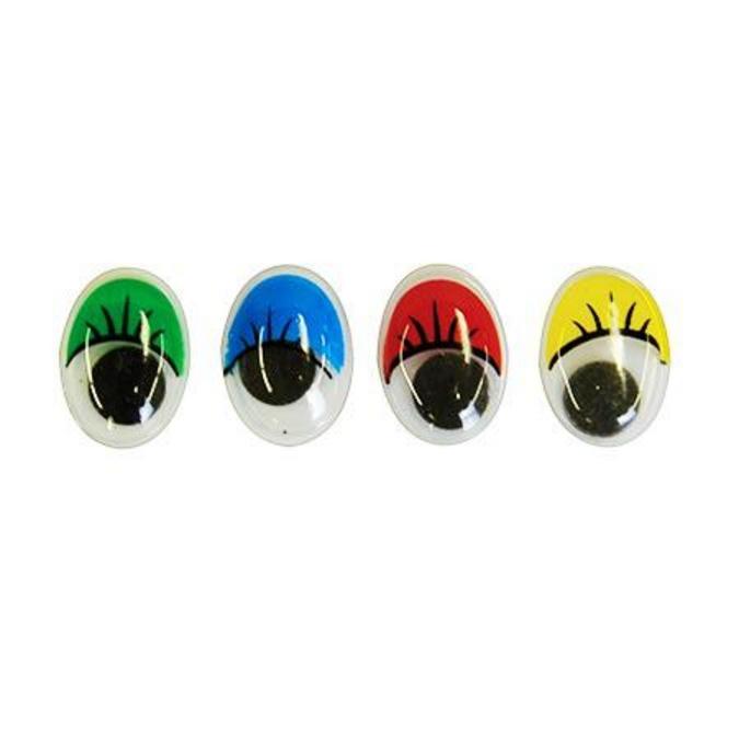 Yeux mobiles couleur avec cils Ø 13 à 17 mm 40 pcs