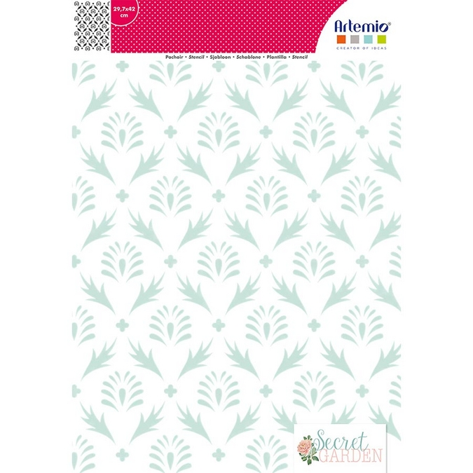 Pochoir Secret Garden motif Feuilles A3