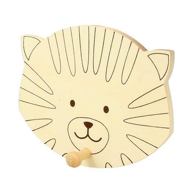 Patère en bois Tête de chat 10 x 12 cm