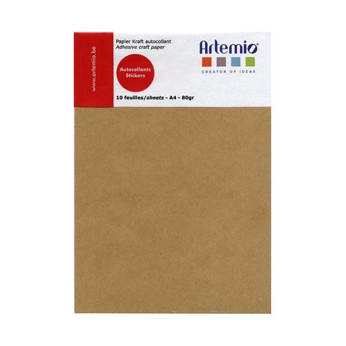 Papier Kraft autocollant A4 21 x 29.7 cm 10 feuilles