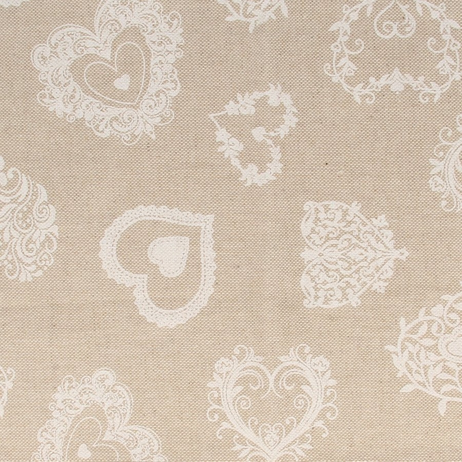 Coupon de coton Cœurs Vintage blancs 30 x 90 cm