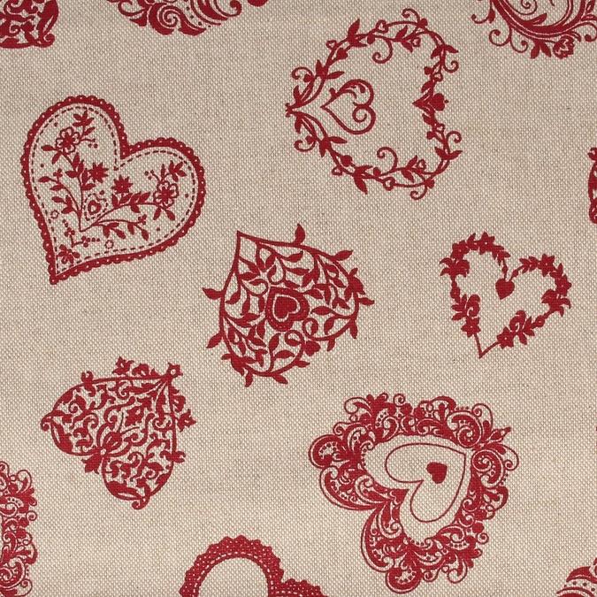 Coupon de coton Cœurs Vintage rouges 30 x 90 cm