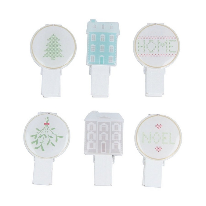 Pince à linge Époxy Home Sweet Home 6 pcs