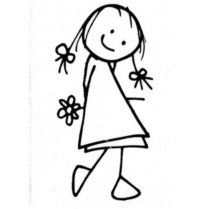 Tampon bois Fille & fleur 5 x 2,6 cm