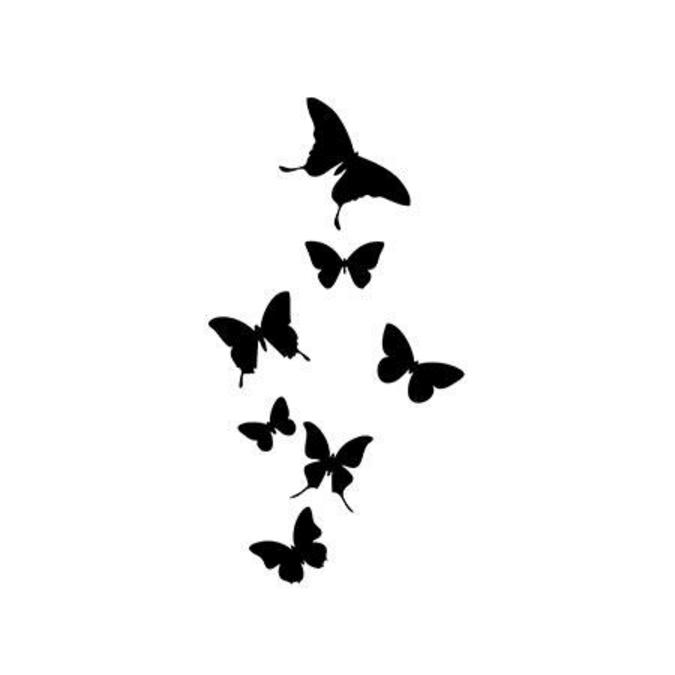 Tampon bois Envol de papillons 3 x6 cm