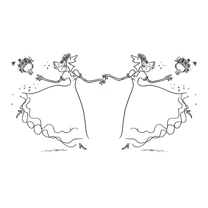 Tampon bois Mariage Dames 8,7 x 5,8 cm