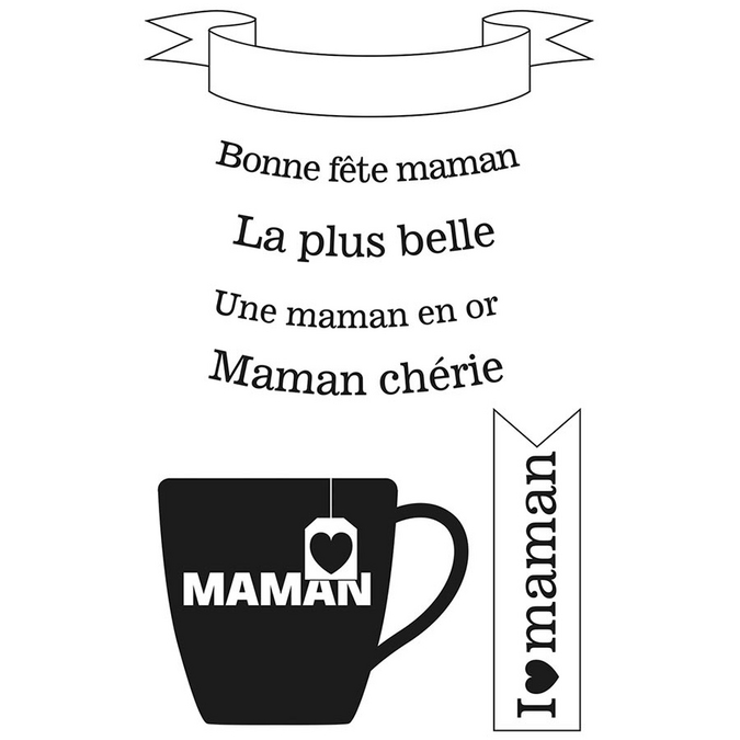 Tampon Clear Bonne fête maman 7 pcs