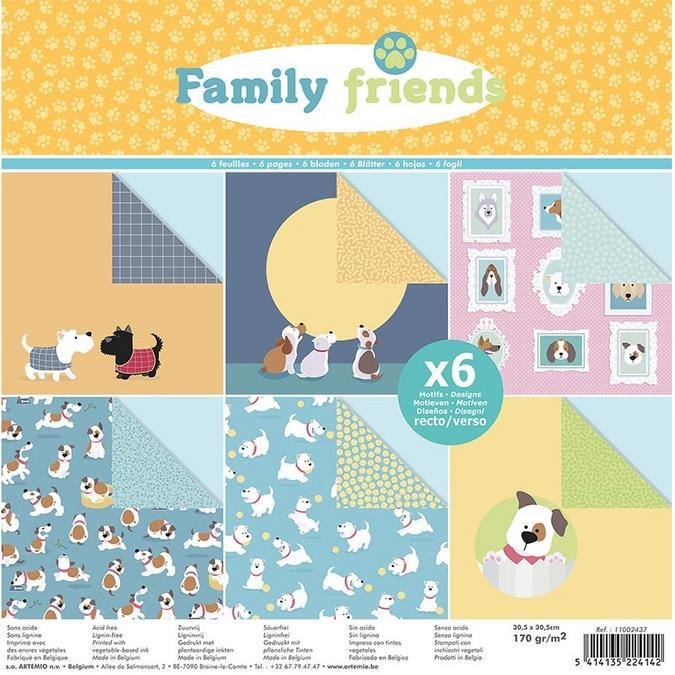 Papier Family Friends Chiens 30 x 30 cm 170 g/m² Set 6 feuilles