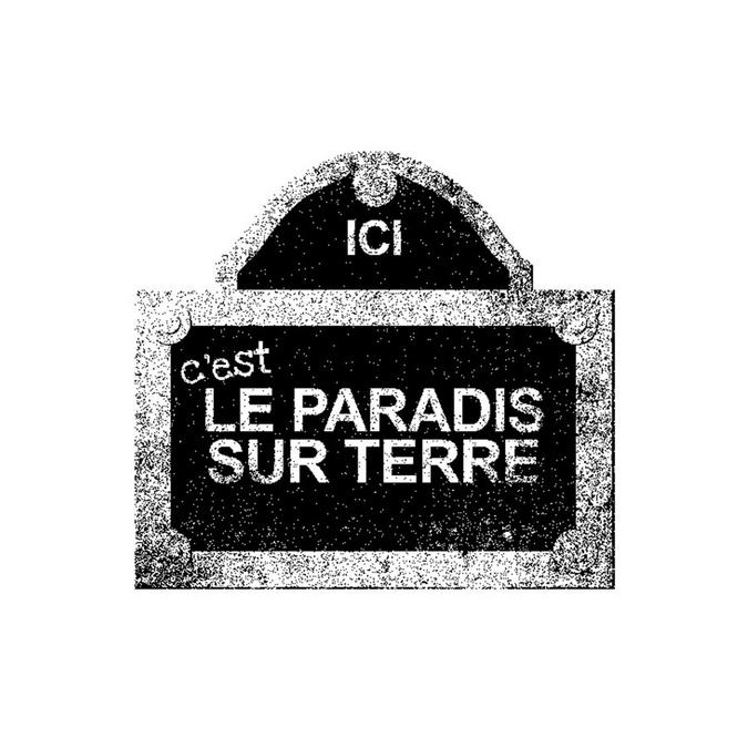 Tampon bois Plaque Rue LE PARADIS SUR TERRE 4 x 3,6 cm