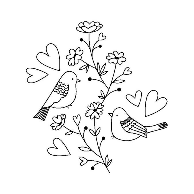 Tampon bois Oiseaux cœurs 5,3 x 5,5 cm