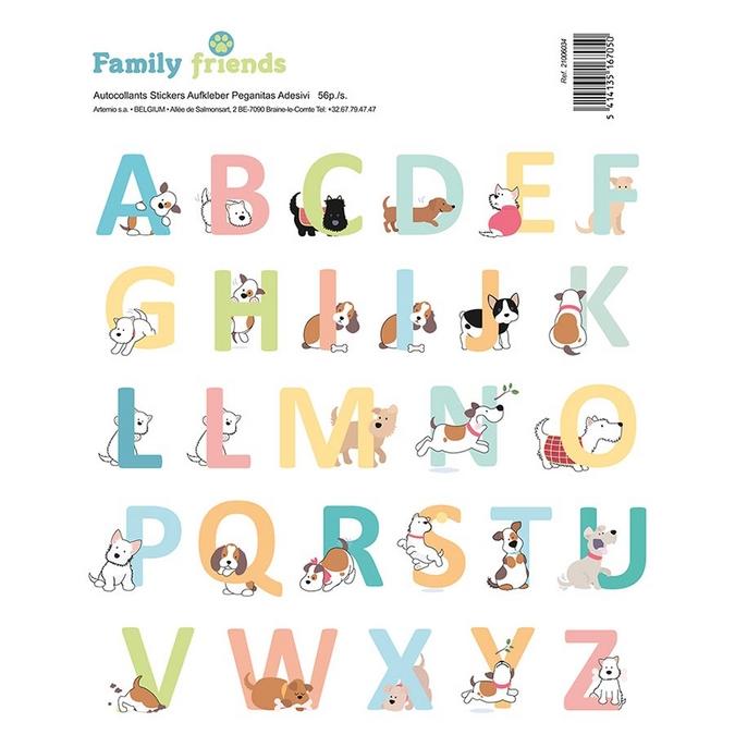 Autocollant Alphabet Family Friends Chiens