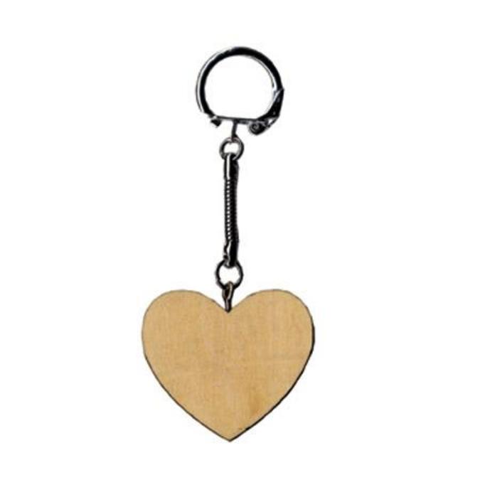 Porte-clés en bois Cœur 6 x 4,5 cm