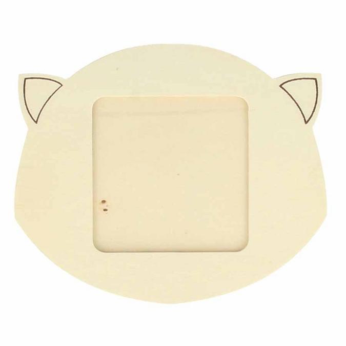 Cadre photo Tête de chat en bois 10 x 12 cm
