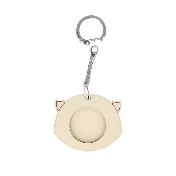 Porte-clés Tête de chat en bois 5 x 4,2 cm
