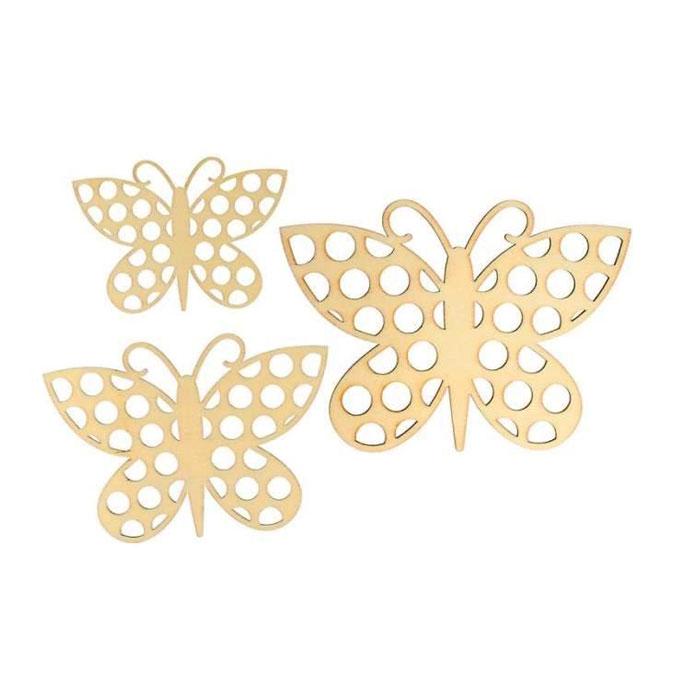 Silhouette en bois Papillon 9 à 15 cm cm 3 pcs