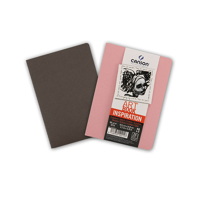 Carnet dessin A6 Art Book Inspiration 96 g/m² Lot de 2 Sépia / Rose foncé