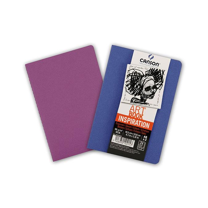 Carnet dessin A6 Art Book Inspiration 96 g/m² Lot de 2 Outremer / Violet
