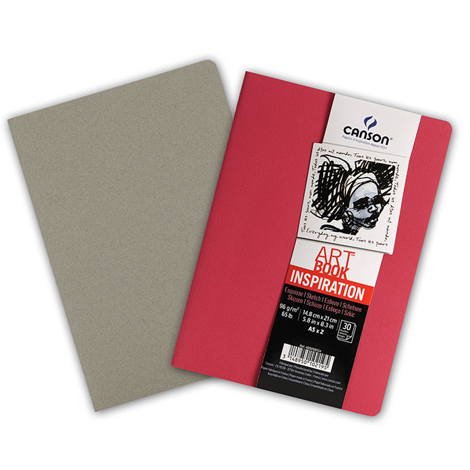 Carnet dessin A5 Art Book Inspiration 96 g/m² Lot de 2 Rouge / Gris