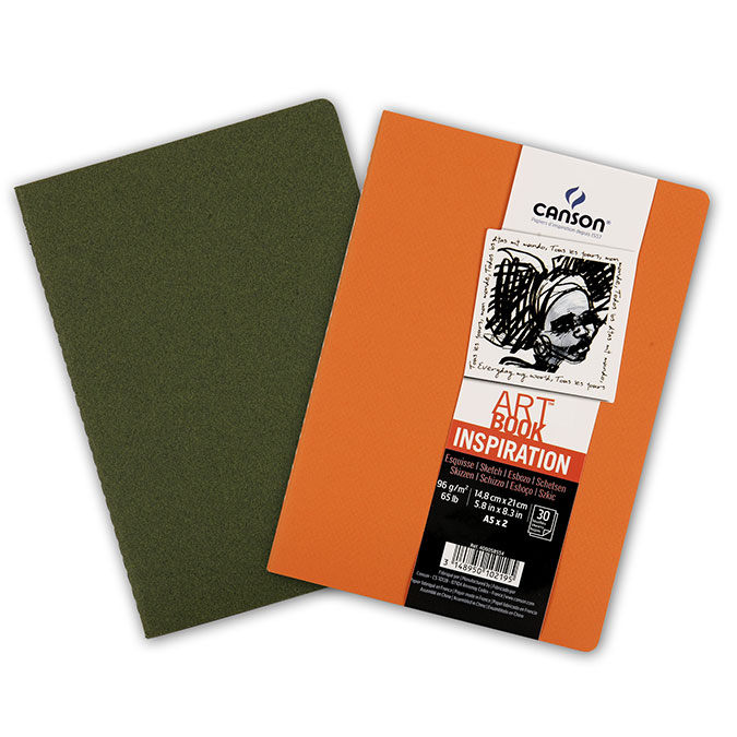 Carnet dessin A5 Art Book Inspiration 96 g/m² Lot de 2 Océan / Orange
