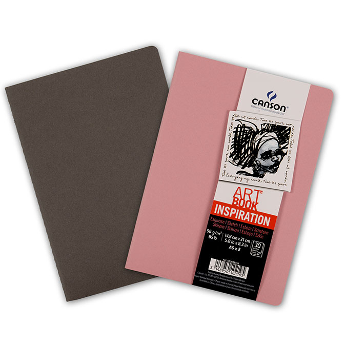 Carnet dessin A5 Art Book Inspiration 96 g/m² Lot de 2 Sépia / Rose foncé