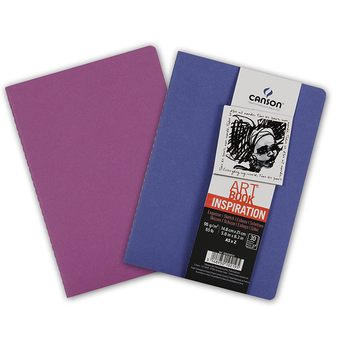 Carnet dessin A5 Art Book Inspiration 96 g/m² Lot de 2 Outremer / Violet
