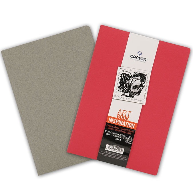 Carnet dessin A4 Art Book Inspiration 96 g/m² Lot de 2 Rouge / Gris
