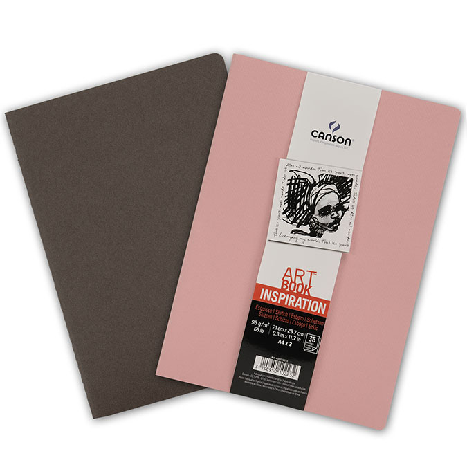 Carnet dessin A4 Art Book Inspiration 96 g/m² Lot de 2 Sépia / Rose foncé