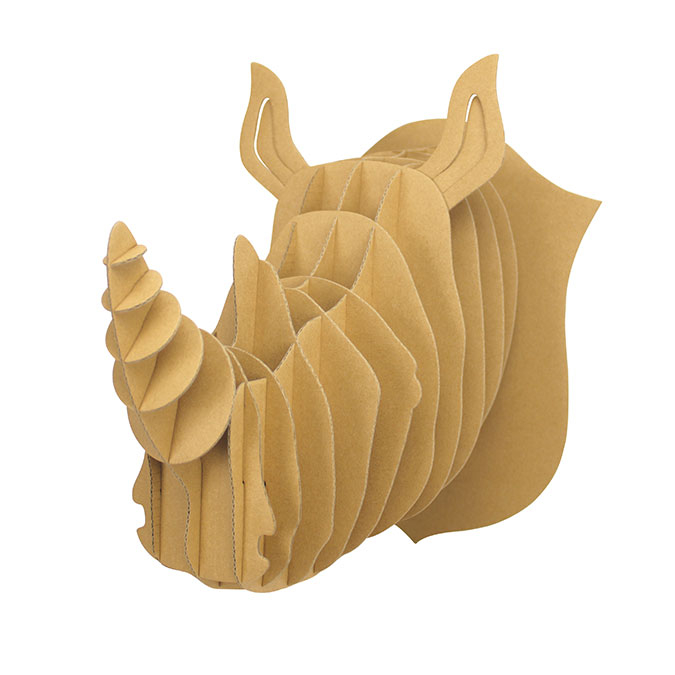 Trophée Rhinocéros carton à assembler 20 x 25 x 27 cm