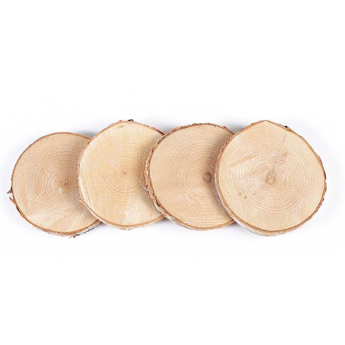 Tranche de bouleau Disque de 7 à 10 cm 4 pcs