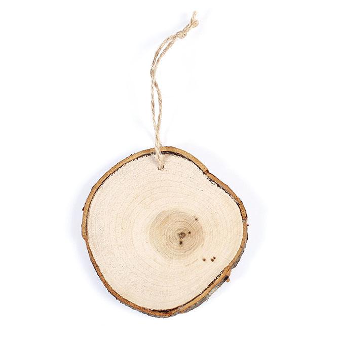 Tranche de bois Disque à suspendre 8,5 cm