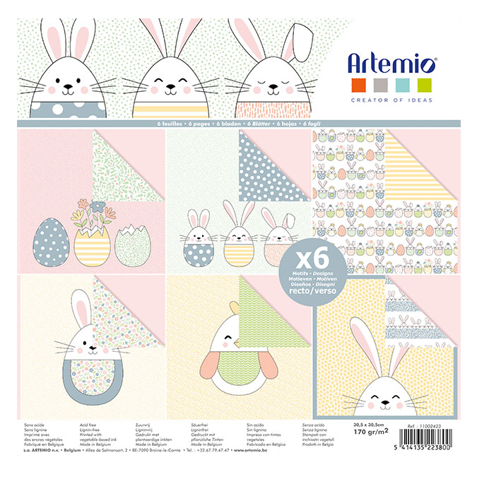 Papier imprimé Pâques grandes oreilles 30 x 30 cm 6 feuilles